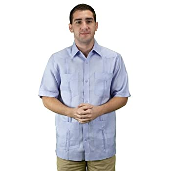 Mens cuban guayabera shirt short sleeve, lavender.