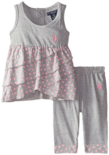 U.S. Polo Assn. Baby Girls' Ruffled Tank Top with Capri Leggings, Heather Grey/Pink, 18 Months
