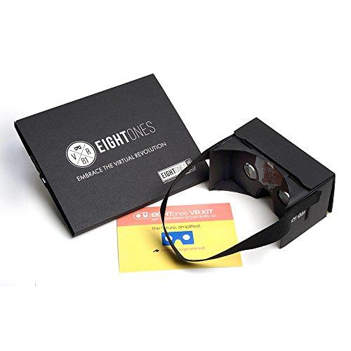 EightOnes VR Google Cardboard Kit with Head Strap and NFC (Jet Black)
