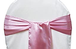 ELINA HOME PACK OF 100 Satin Chair Cover Bow Sash Wedding Banquet Decor (BABY PINK)