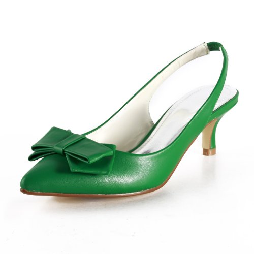 Minitoo TH12103 Womens 2 Inches Heel Green PU Leather Casual Evening Parting Bridal Wedding Dress Backstrap Pumps 7 M US