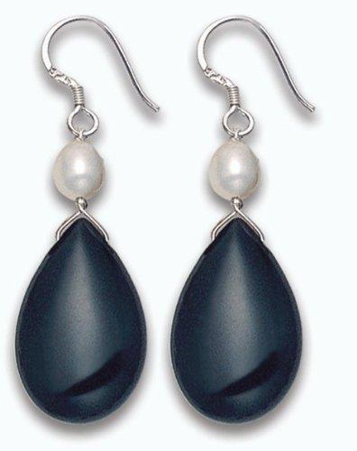 In argento Sterling 925 e onice nera-Orecchini a goccia con perle d'acqua dolce, 4480E1. in buona qualità, spediti in confezione regalo di prima classe della posta.