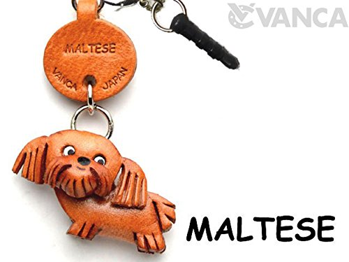 Maltese Leather Dog Earphone Jack Accessory / Dust Plug / Ear Cap / Ear Jack *VANCA* Made in Japan #47741