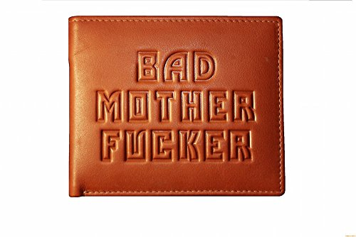 Bad Mother Fucker portafoglio in pelle marrone chiaro - Embossed Leather Wallet in tan brown
