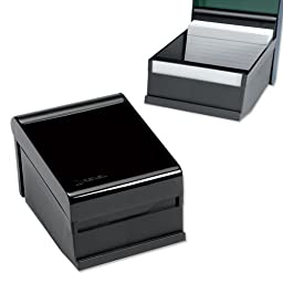 Rexel Agenda Deluxe Card Index Box Capacity 300 Cards 152x102mm Charcoal Ref 26157