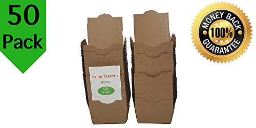 50 Pack Paper Take Out Boxes Microwavable Safe With Poly Coated Inside And Tuck Top Prevent Spillage and Mess 4 3/8