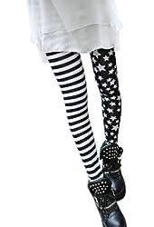 Asoidchi 2014 Ladies Girls Elastic Stitching Stars Stripes Leggings Tights Pants