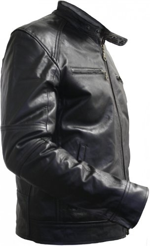 Men Leather jacket fashion sheepskin lamb Nappa-leather black, Size:M