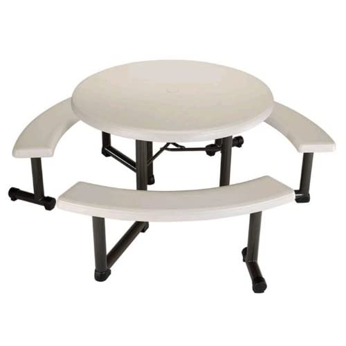 Lifetime Round Picnic Table and Benches, 44 Inch Top , Almond