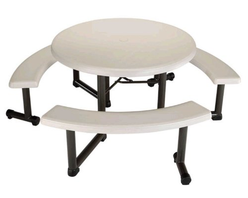 Best Price Lifetime Round Picnic Table and Benches, 44 Inch Top , Almond