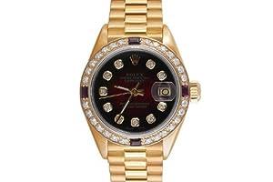 Rolex Ladies Yellow Gold President Red Vignette Diamond Dial