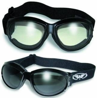 2 Burning Man Motorcycle Goggles Clear and Smoke Tinted Plus Pouches/Storage Bags Day Night Great for Dust Storms and Keeping Wind and Debris out of the Eyes Sand Desert