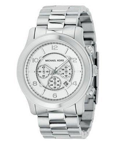 Michael Kors MK8086 es un hombre de gran tamaño de plata de acero inoxidable reloj cronógrafo 100 m