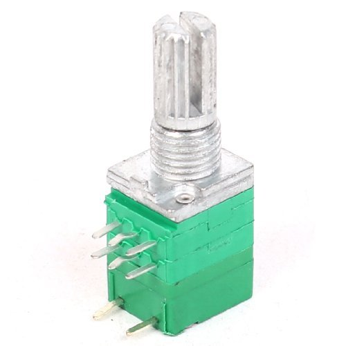 Typ B 50K ohm 6mm Gerändelt Schaft Dooppel Linear Potentiometer Topf Grün de