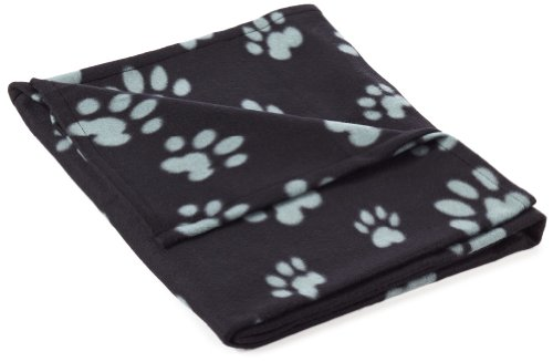 Trixie-Fleecedecke-Barney-150-x-100-cm-schwarz-mit-grauen-Pfoten