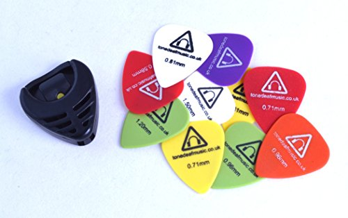 tone-deaf-music-guitar-picks-plectrums-with-pick-holder-pack-of-10