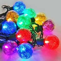 Globe String Lights, Metallic Tinsel 25 G40 LED, Green Wire, Multicolor