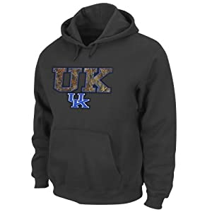 NCAA University of Kentucky Men's Hint of Destiny Hooded Pullover Fleece, Charcoal, Medium