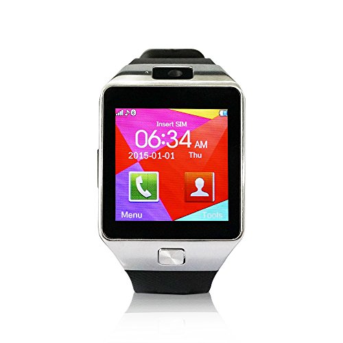 YUNTAB-SW01-Orologio-Bluetooth-SmartWatch-fitness-dellinvolucro-del-polso-orologio-cellulare-con-Touch-Screen-Fotocamera-per-iPhone-Samsung-HTC-LG-Android-carta-smartphone-Phone-SIM-Argentato
