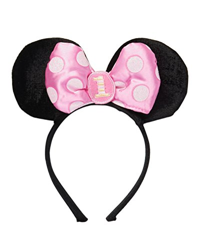 Amscan Minnie Mouse 1st Birthday Headband, Black/Pink