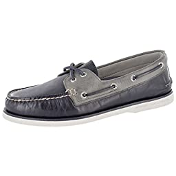 Sperry Top-Sider Men\'s Gold A/O 2-Eye Navy/Grey Boat Shoe 8.5 M (D)