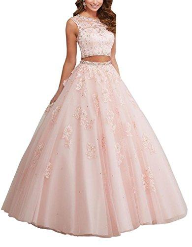 Engerla-Mujer-Sheer-Jewel-Crystal-abalorios-apliques-Lacy-de-dos-piezas-trasera-quinceaera-Vestido-de-novia
