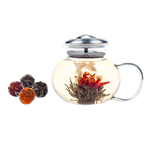 Elitea 40oz Clear Glass Teapot Stovetop Safe with 4 Flowering Tea Balls, Classic and Large (Flower Tea Kettle compare prices)