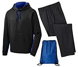 Sport Tek Men\'s Sport Wick Fleece Tracksuit, 2XL, Royal/Black