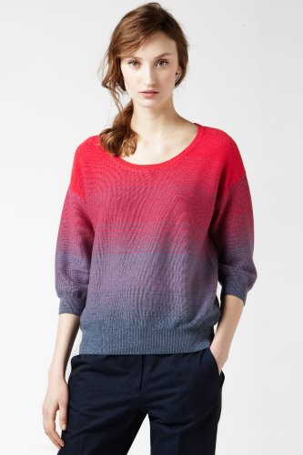 Short Sleeve Scoopneck Ombre Sweater