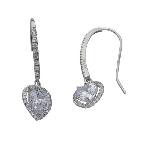 9ct White Cubic Zirconia Hook Heart Earrings