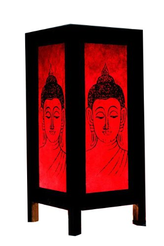 Thai Vintage Handmade Asian Oriental China Black Red Head Buddha Bedside Table Light Or Floor Wood Paper Lamp Shades Home Bedroom Garden Decor Modern Design From Thailand