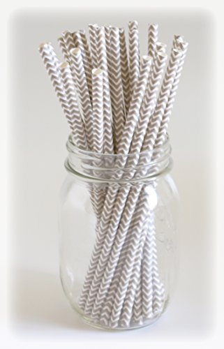 Chevron Straws, Paper Straws Bulk, Decorative Drinking Straws, Beverage Stirrers, 25 Pack - Silver Chevron front-795306