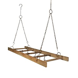 Amazon.com - Wooden Hanging Ladder Pot Rack with Hooks ...