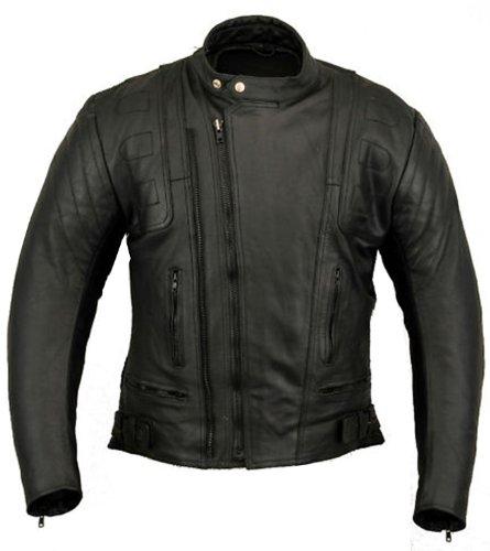 US20 Mens Motorbike Jacket Leather Motorcycle (4XL)