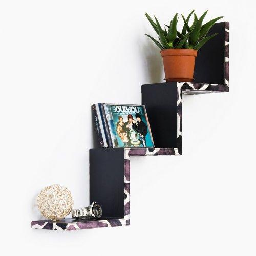 Trista - [Leopard Purple] Ladder-Shaped Leather Shelf / Bookshelf / Floating Shelf front-978910