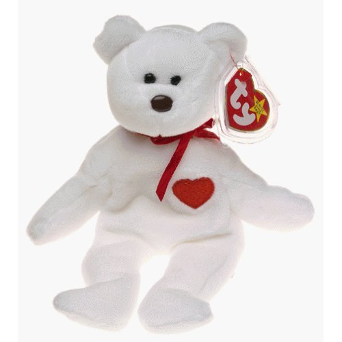 Valentino the White Heart Bear - MWMT Ty Beanie Babies - 1