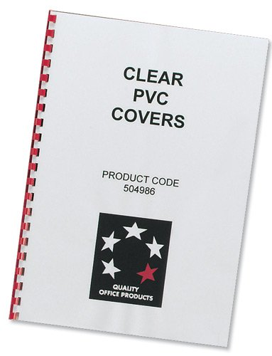5 Star Office Comb Binding Covers PVC 200 micron A4 Clear (Pack 100)