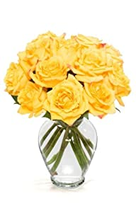 12 Long Stem Yellow Roses – With Vase