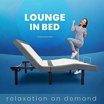 BEDBOSS Maximize 604 Adjustable Full Motion Zero Gravity Motorized Bed Base | Heavy Duty Steel Frame | Healthy Lifestyle Massage | Wireless Remote | Mattress Retention Rail | for Bedroom | Queen