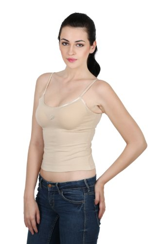 win Birds Super Soft Cotton Elastane V Neck Adjustable Spaghetti Strap Cami Camisole (Natural Skin, Large)