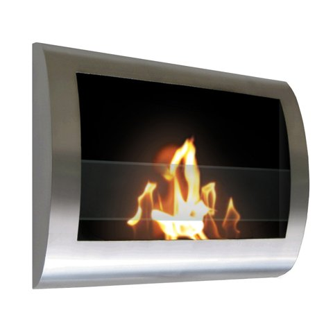 Brushed Stainless Steel Wall Mount Indoor Safe Eco Friendly Fireplace Chelsea image B00G91PG94.jpg