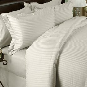 1200-Thread-Count Egyptian Cotton 1200TC Sheet Set, California King, Ivory Damask Stripe 1200 TC