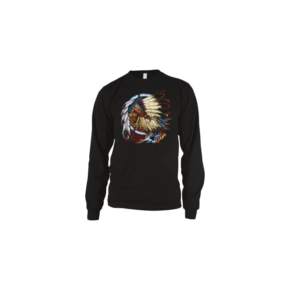 Indian Chief Mens American Indian Thermal Shirt, Native American With Feather Headdress Thermal Clothing