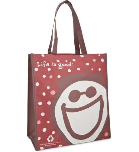 Life Is Good Recycled Shopper Large Red Tote Bag front-549865