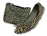 Sidekicks Foldable Animal Print Ballet Flats Shoes w/ Carrying Case Leopard, Large (8.5-9.5).