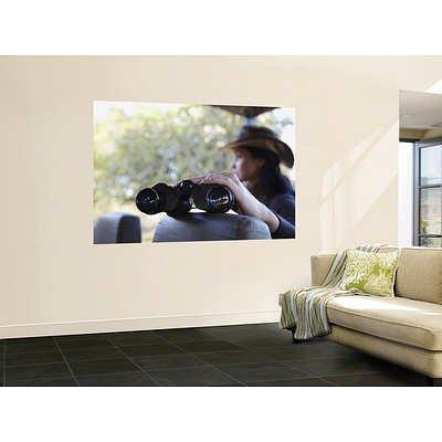 (48X72) Ian Trower - Woman Holding Binoculars On Safari Truck, Kruger National Park, Mpumalanga, South Africa Huge Wall Mural