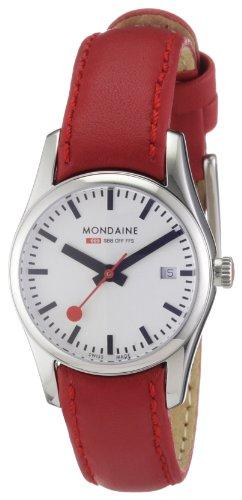 Mondaine A629.30341.11SBC.XL - Reloj de mujer de cuarzo (suizo), correa de piel color rojo