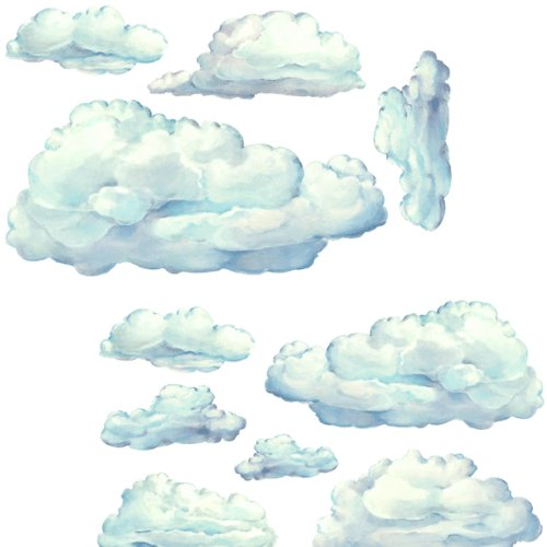 Instant Murals 10 Large Clouds Nursery Wall Transfer Sticker Mural