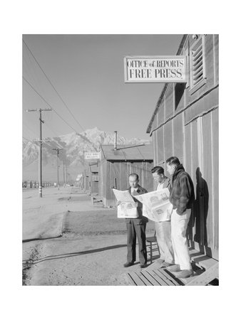Roy Takeno (Editor) and Group Reading Manzanar Paper