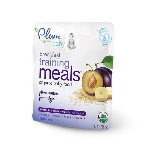Plum Organics Breakfast Training Meals Baby Food Plum Banana Porridge - 4oz - pack of 12